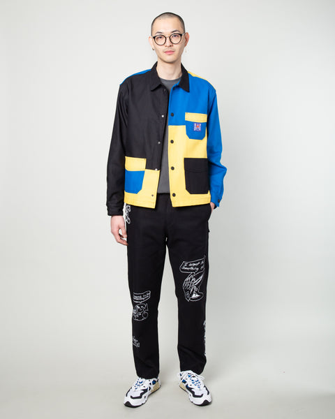Colorblocked Canvas Chore Coat Yellow/Blue/Black