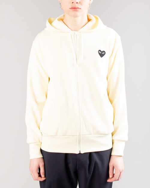 PLAY Big Heart Zip Hoodie Ivory 1