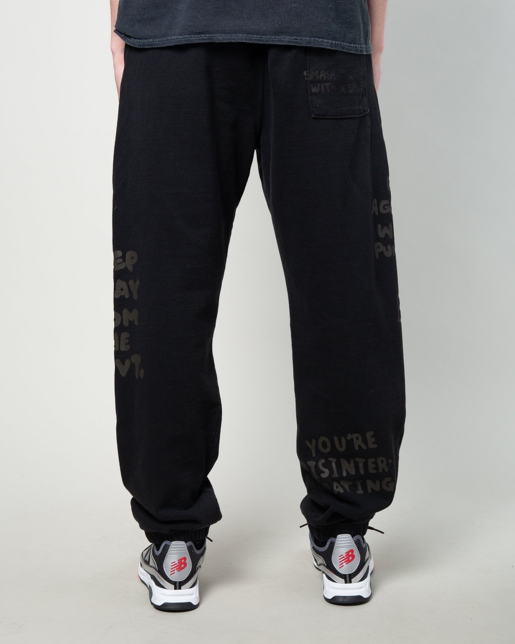 Tonal Type Print Sweatpant Black