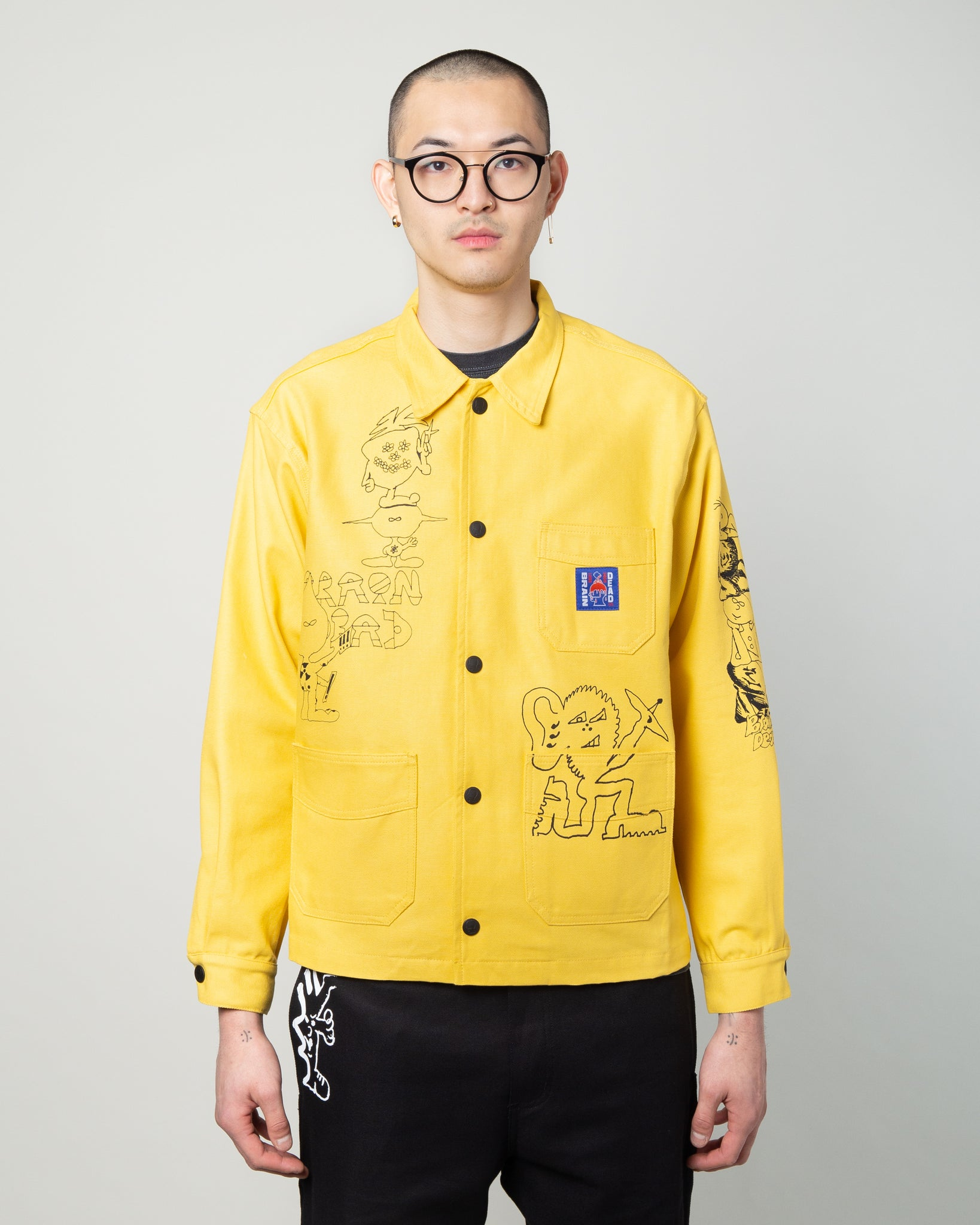 Printed Canvas Chore Coat Light Yellow