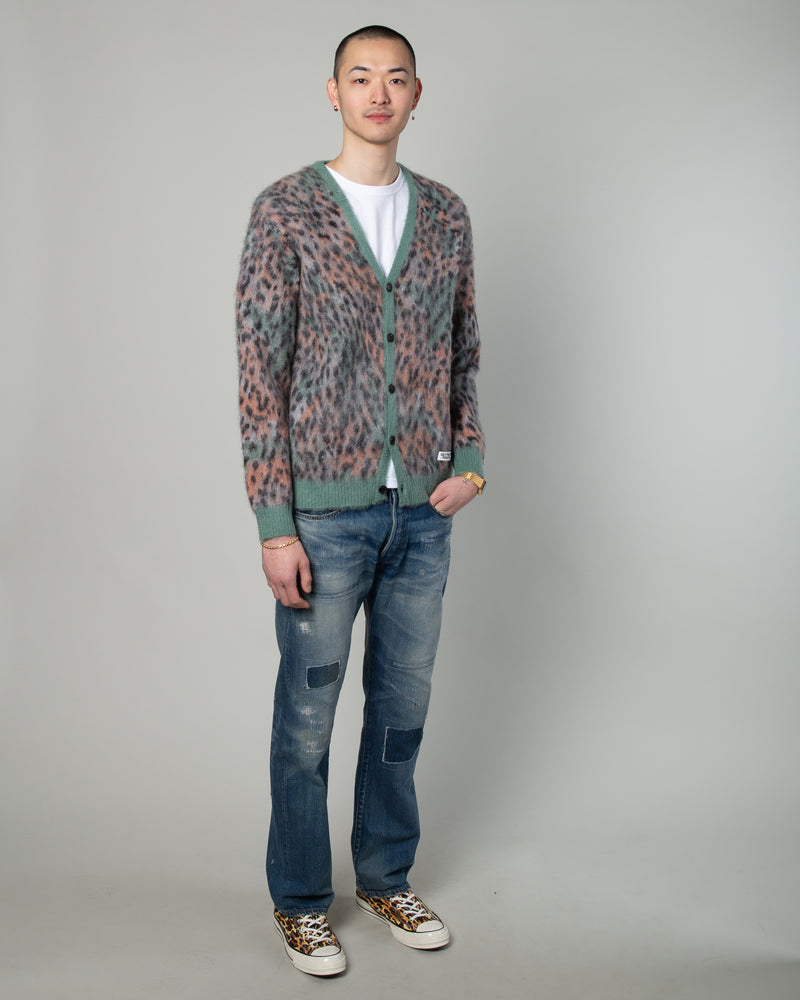 Leopard Mohair Cardigan (Type-1) Green