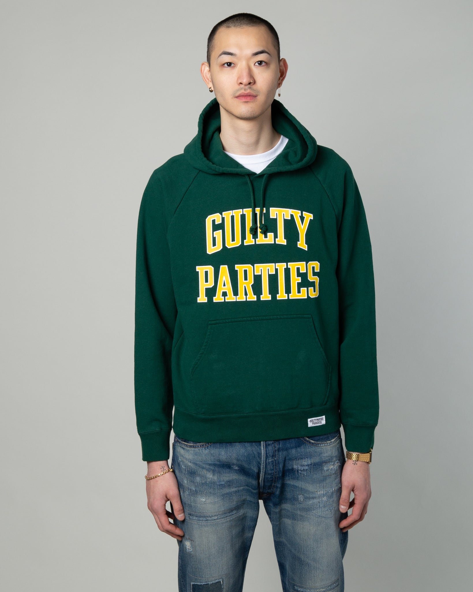 Washed Pullover Hooded Sweatshirt (Type-5) Green