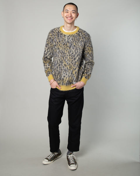 Leopard Mohair Crewneck Sweater (Type-1) Yellow
