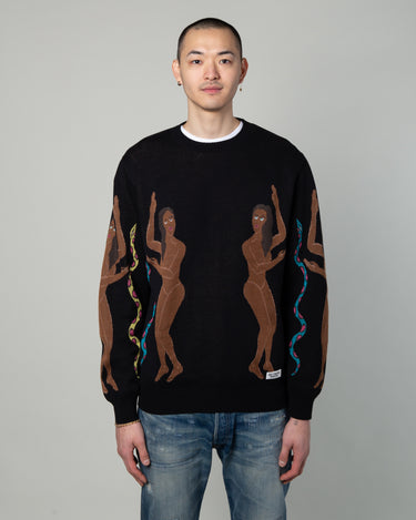 Jacquard Crewneck Sweater Black 1