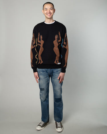 Jacquard Crewneck Sweater Black 2