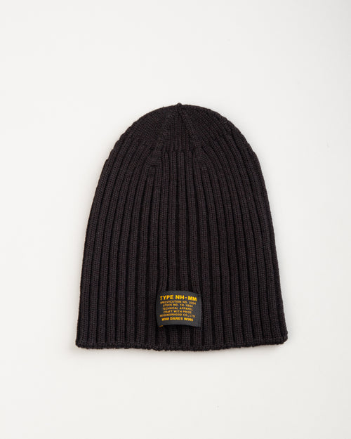 Wool Knit Beanie Black 1