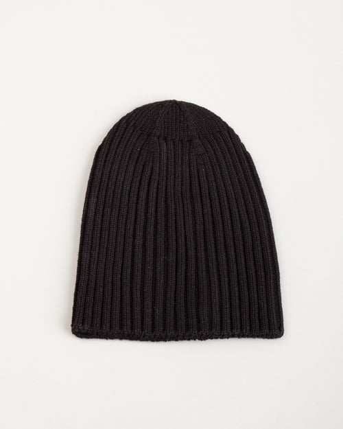 Wool Knit Beanie Black 2