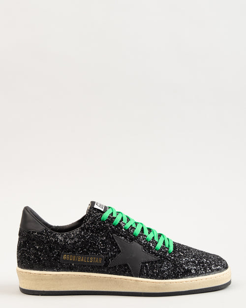 Ball Star Black Glitter/Green Laces 1