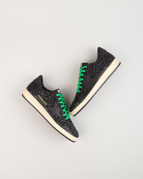 Ball Star Black Glitter/Green Laces 2
