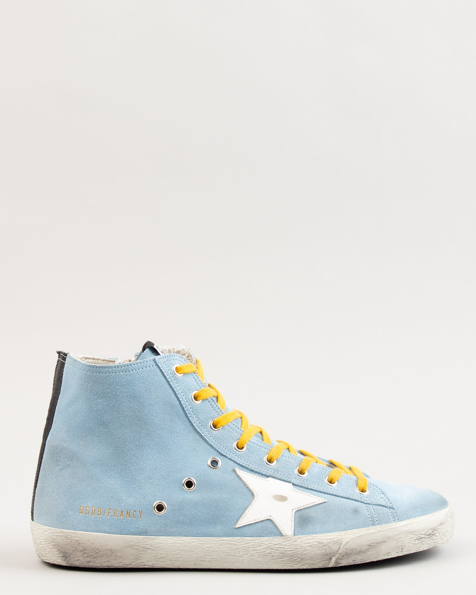 Francy Water Blue Suede/Ocher Lace