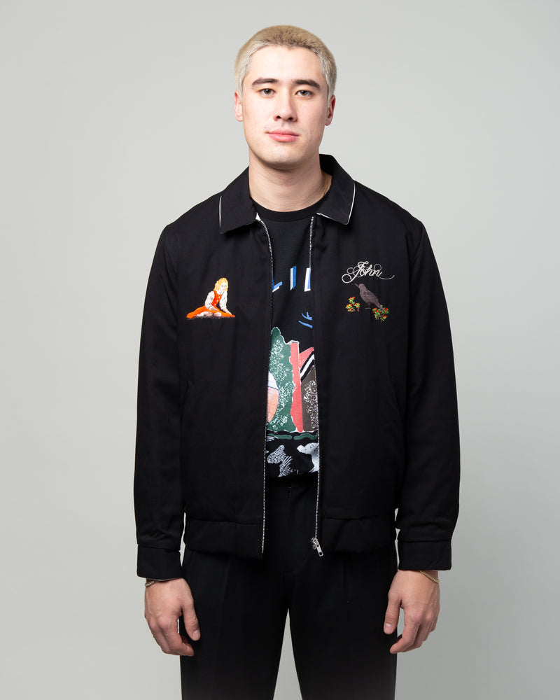 JUX4202 Embroidered Zip Up Jacket Black