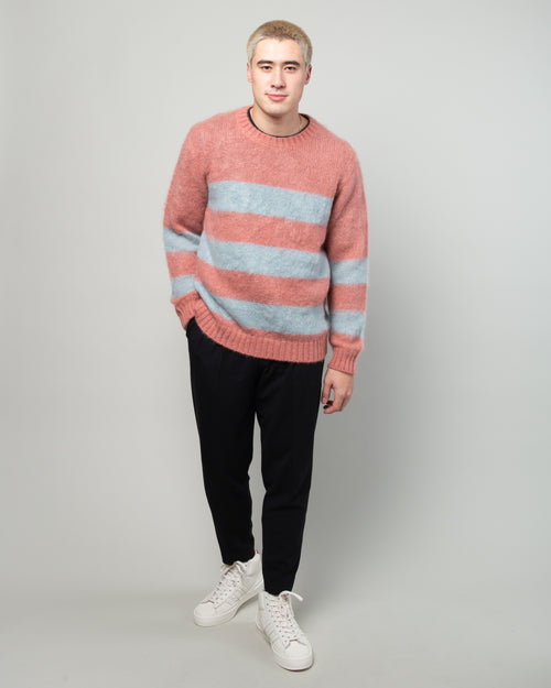 JUX4901-1 Mohair Striped Sweater Pink 2