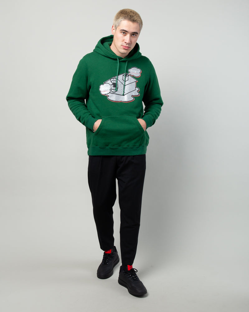 JUX4893-2 House Graphic Hoodie Green
