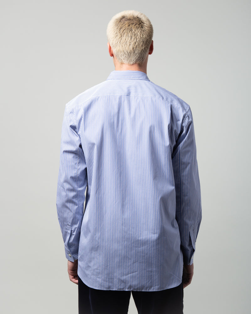 Pinstripe Patchwork Shirt Blue/Mix