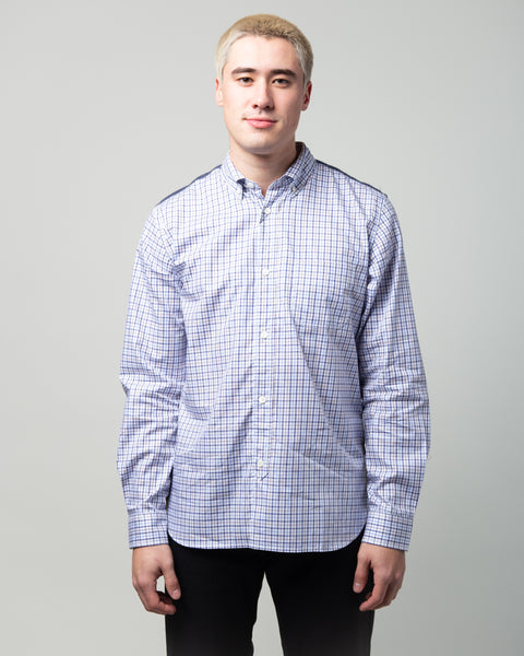 Tartan Flannel Patchwork Shirt Blue