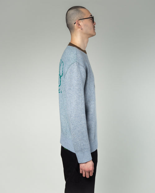 Mondo Knit Crewneck Sweater Teal 2