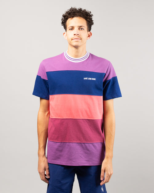 SS Striped Ribbed Collar Tee Purple Tape Combo 1