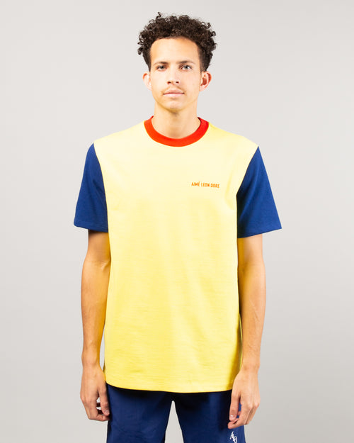 Color Blocked Logo Tee Highlighter Yellow 1