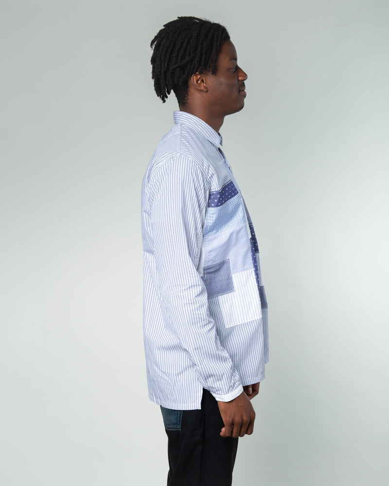 Patchwork Check Shirt Blue/White/Navy