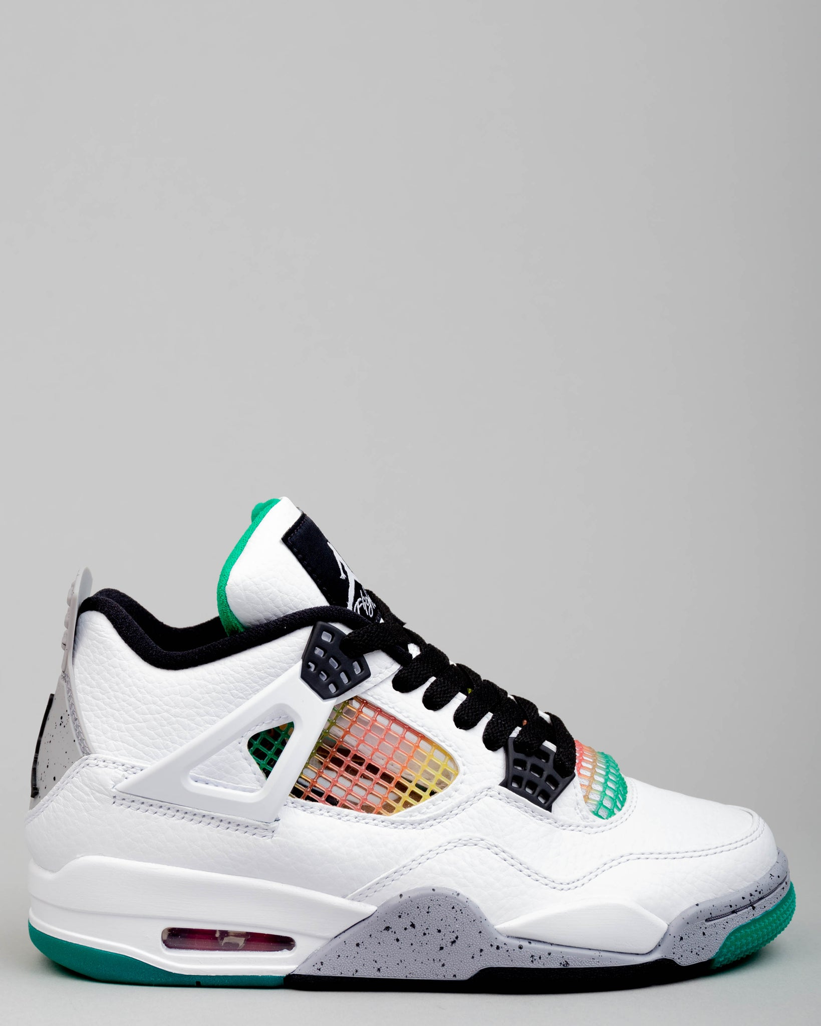 W Air Jordan 4 Retro White/Black/University Red/Lucid Green