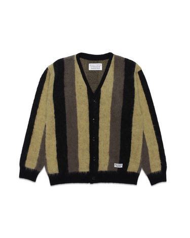 Striped Mohair Cardigan Beige 1