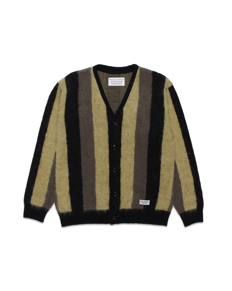 Striped Mohair Cardigan Beige