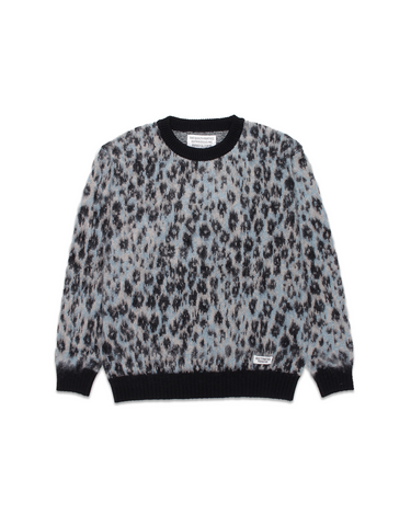 Leopard Mohair Crewneck Sweater Turquoise 1