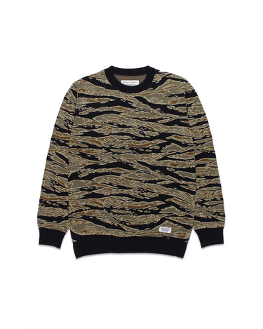 Tiger Camo Jacquard Sweater Olive 1