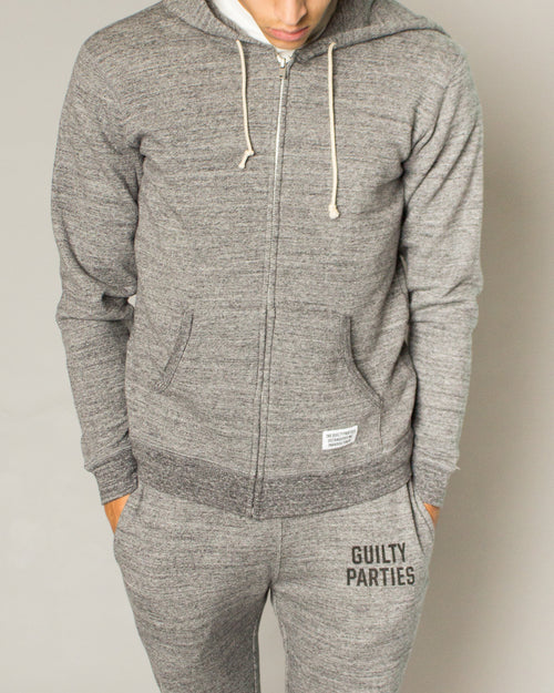 Guilty Parties Full Zip Hooded Sweatshirt Grey 1