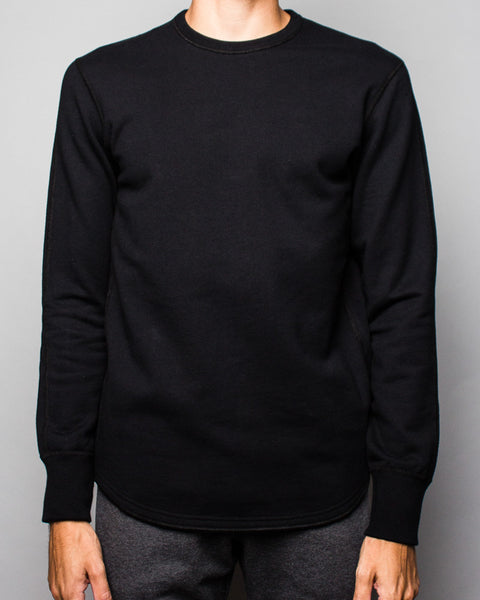 Midweight Terry Scalloped LS Crewneck Black Reigning Champ Mens Sneakers Seattle