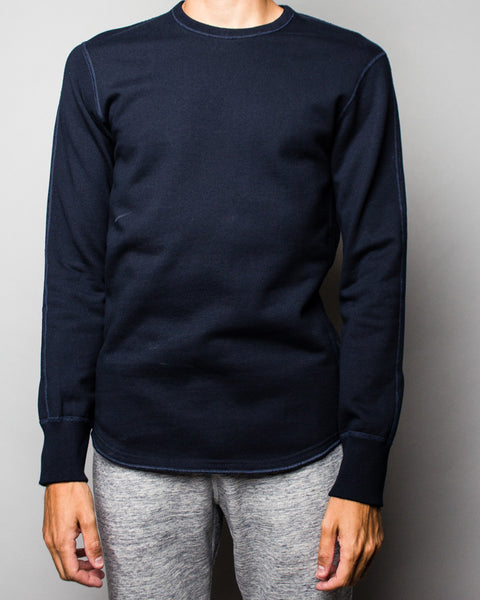 Midweight Terry Scalloped LS Crewneck Navy Reigning Champ Mens Sneakers Seattle