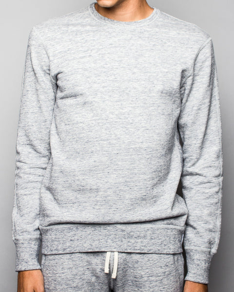 Midweight Terry Side Zip LS Crewneck Ice