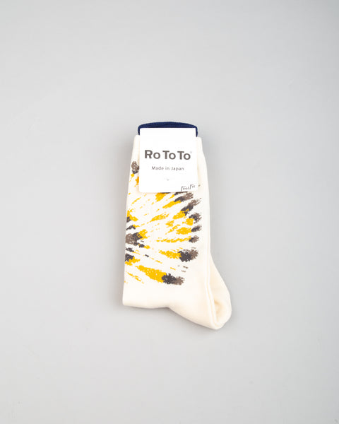 Tie Dye Pattern Socks Grey/Yellow