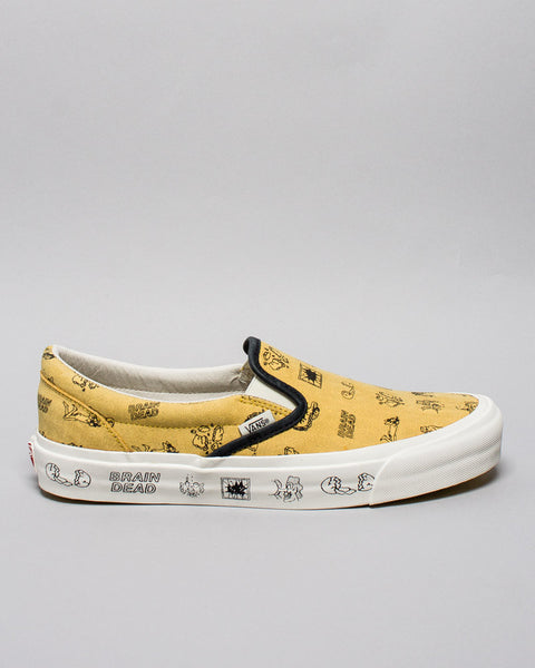 Vans x Brain Dead Classic Slip-on LX Aspen Gold/Marshmallow Vans Vault Mens Sneakers Seattle