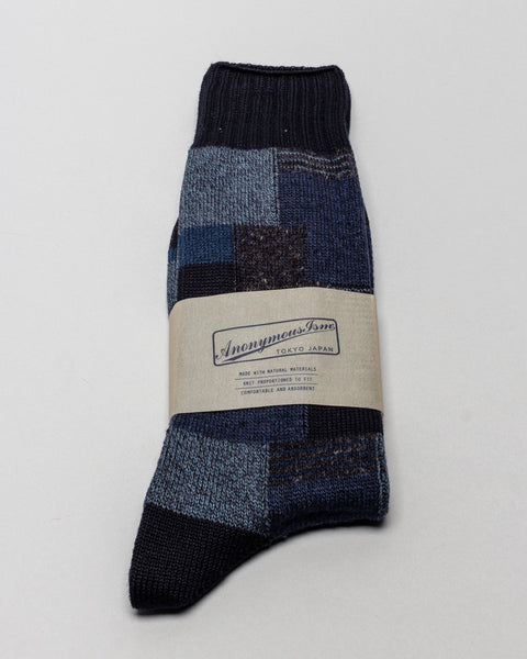 AnonymousIsm Sock Block Pattern Navy Blue AnonymousIsm Mens Sneakers Seattle