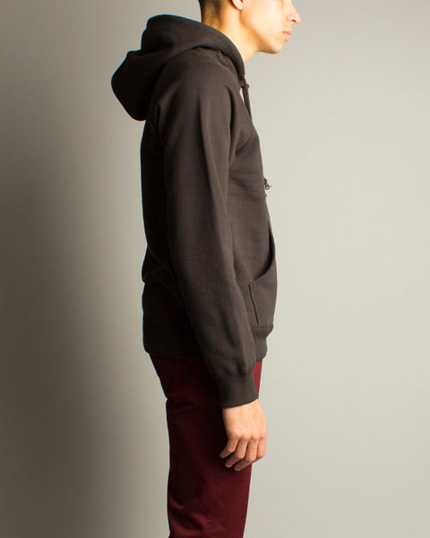 Washed Heavyweight Pullover Hooded Sweatshirt Black