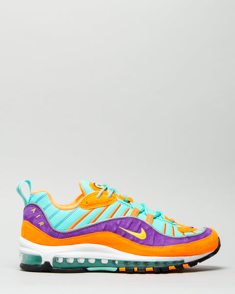 Air Max 98 QS Cone/Tour Yellow/Hyper Grape Nike Mens Sneakers Seattle