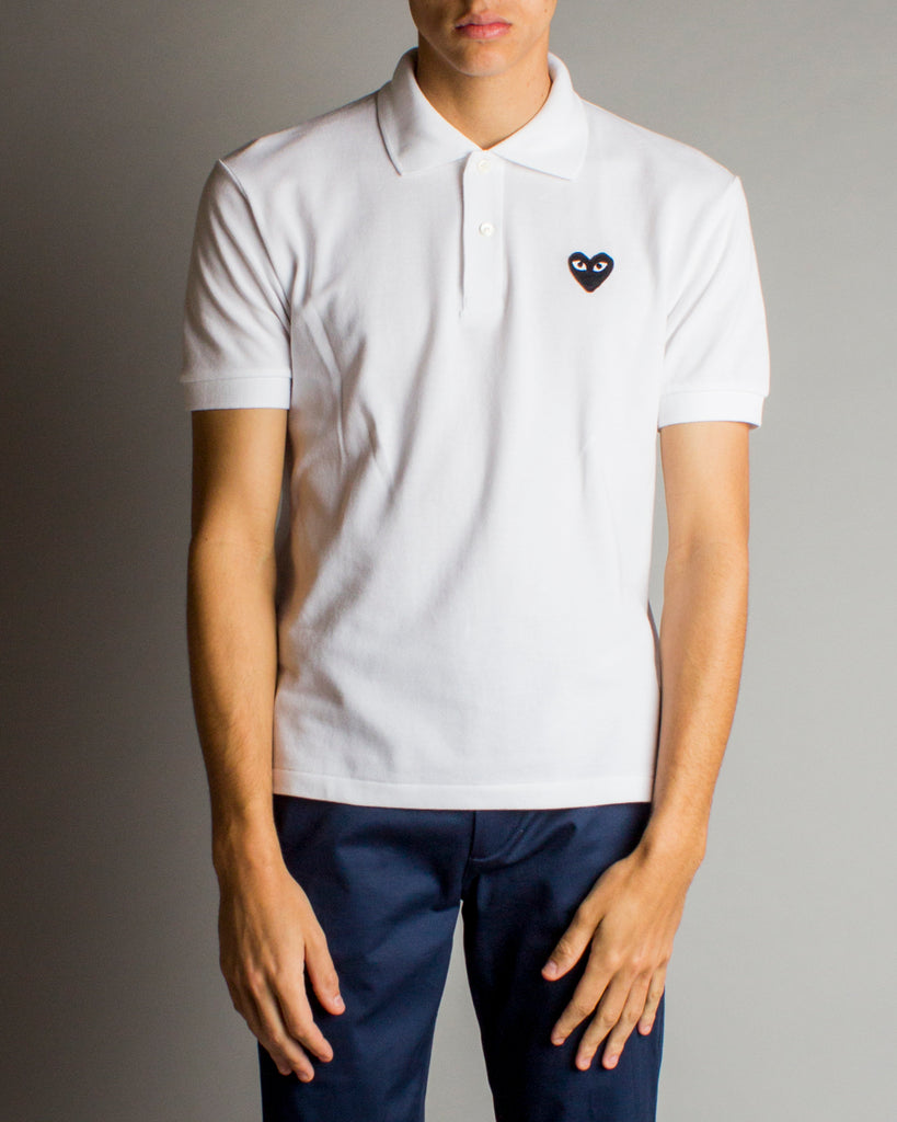 Men's Medium Black Heart Polo Shirt White