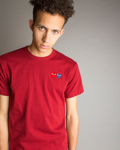 PLAY Double Heart T-Shirt Burgundy