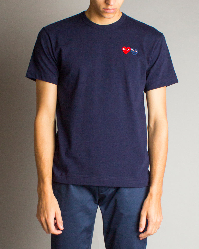 PLAY Double Heart T-Shirt Navy