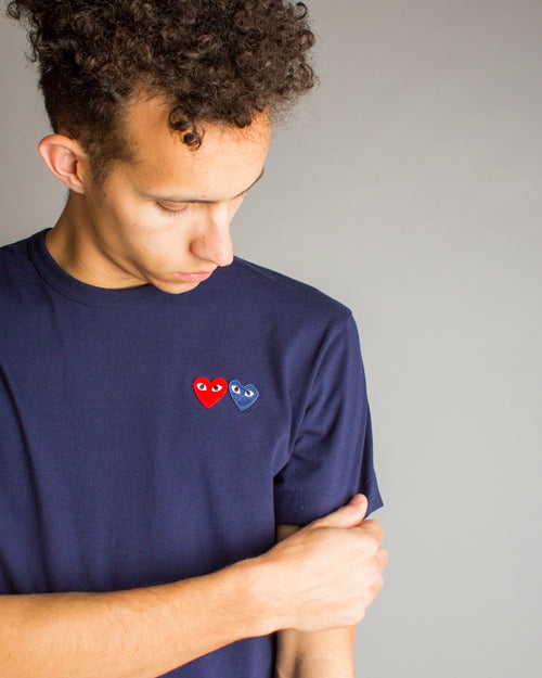 PLAY Double Heart T-Shirt Navy 2