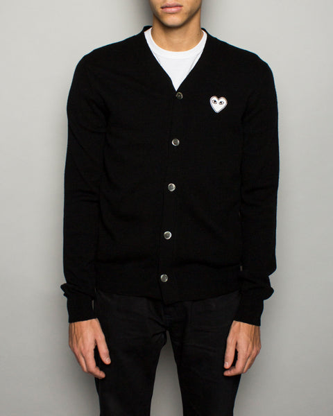 PLAY Cardigan White Heart Cardigan Black Comme des Garcons Mens Sneakers Seattle