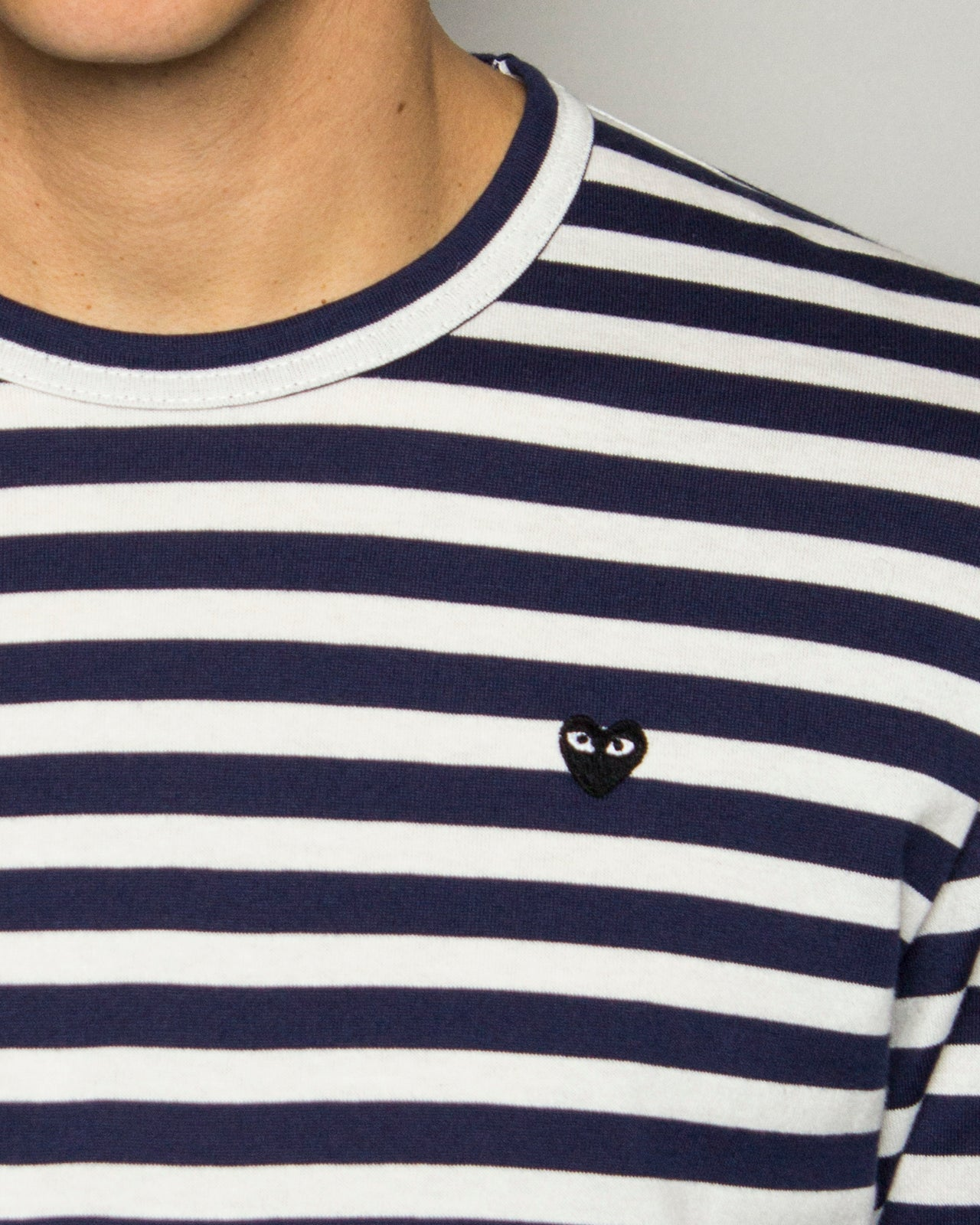 PLAY Striped Black Heart LS Navy/White