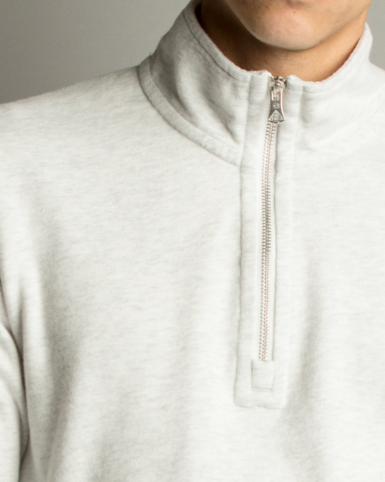 Lightweight Terry Half Zip Pullover Heather Grey