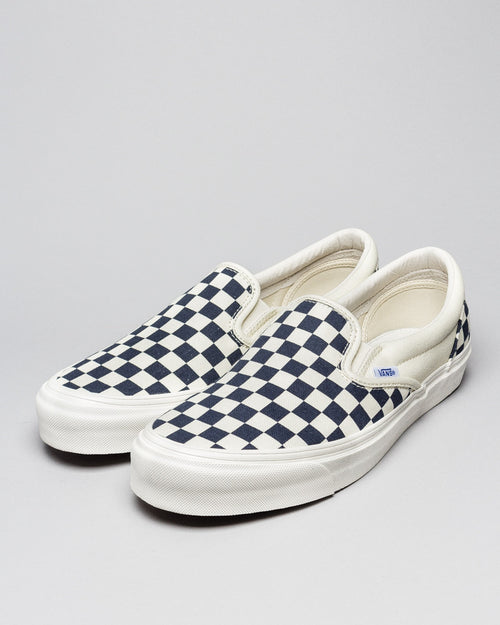 OG Classic Slip-on (Canvas) White/Navy Checkerboard 2