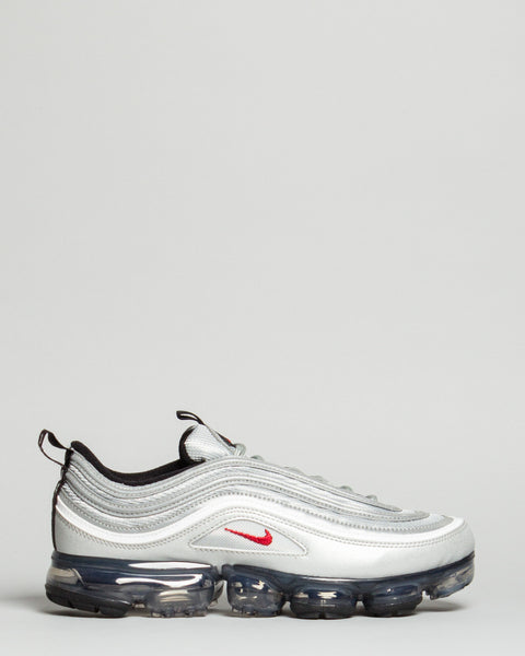 Air VaporMax 97 Metallic Silver/Varsity Red/White/Black Nike Mens Sneakers Seattle