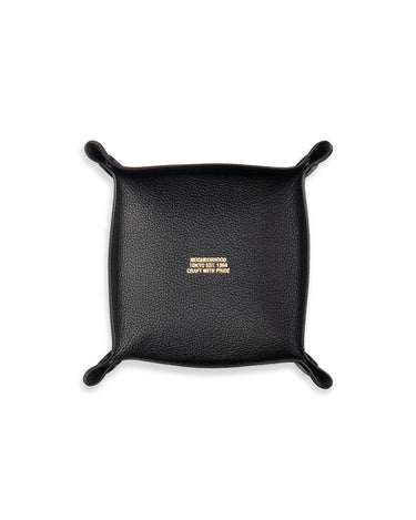 Leather Square Valet Tray Black 1