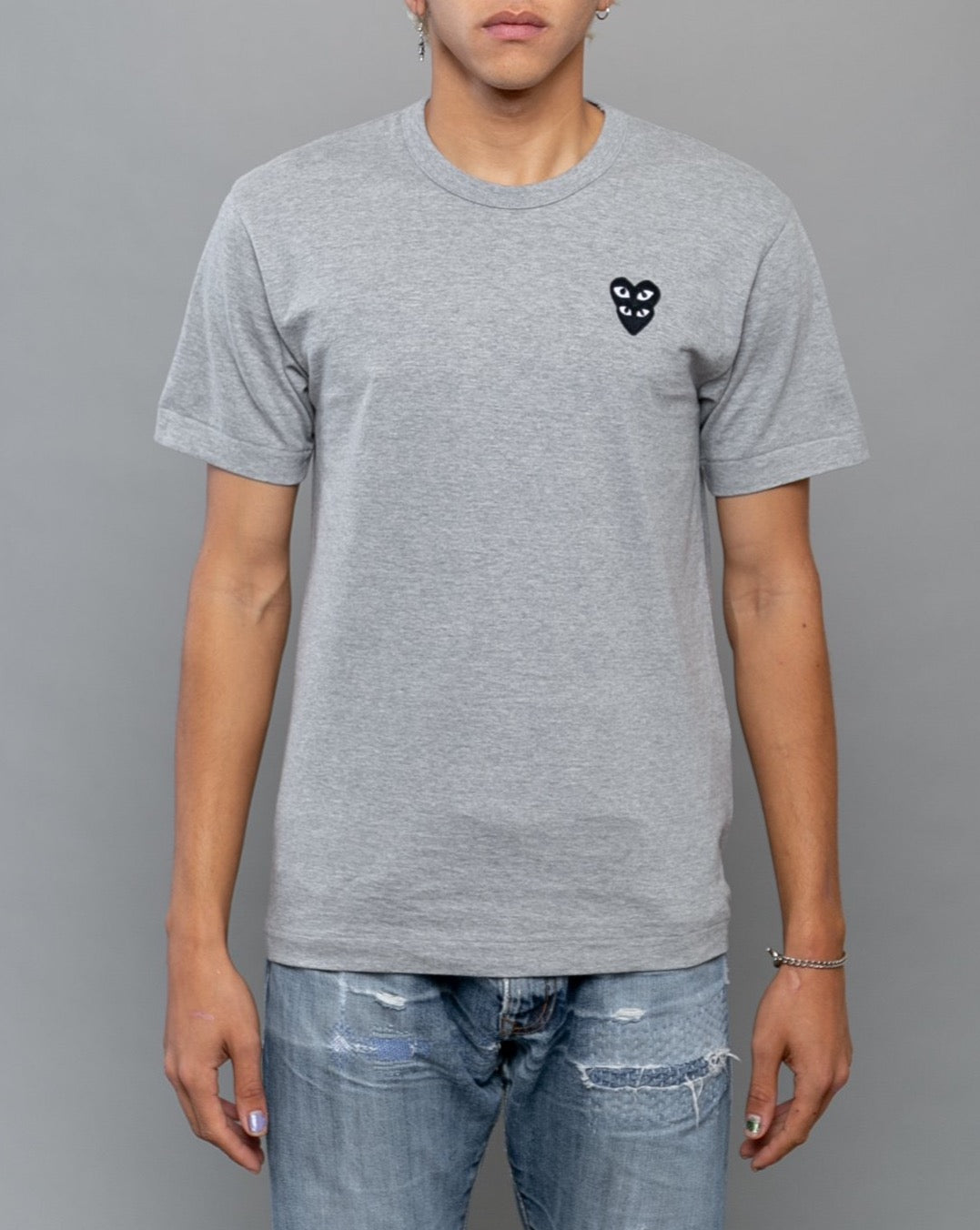 Stacked Heart T-Shirt Grey