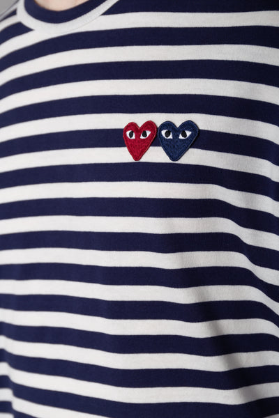 Striped Double Heart LS White/Navy