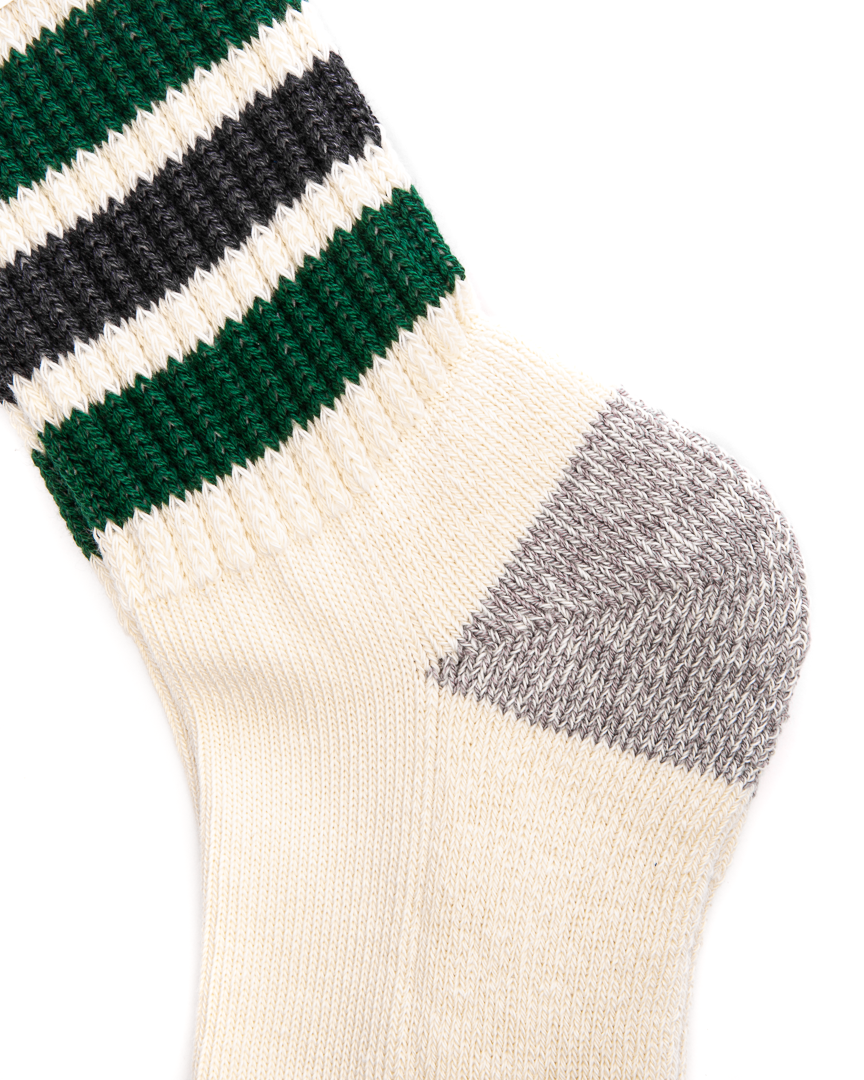 Coarse Ribbed Oldschool Crew Socks Green/Charcoal